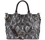 As Is Dooney & Bourke City Python Embossed Medium Leather Barlow Satchel - A279376