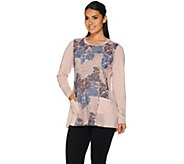 LOGO Lounge by Lori Goldstein French Terry Top with Tri-Color Lace - A279476