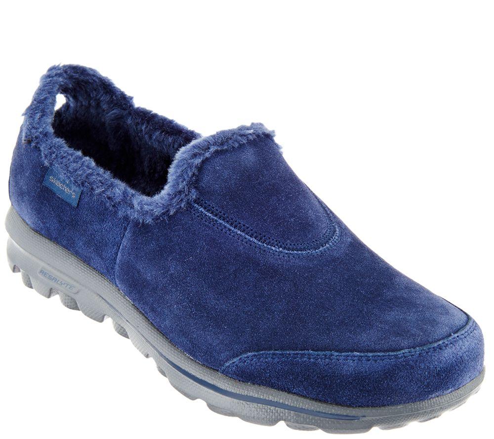 """""""As Is"""" Skechers GOwalk Suede Faux Fur Shoes - Comfy ..."""