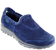 As Is Skechers GOwalk Suede Faux Fur Shoes - Comfy - A279876