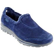 As Is Skechers GOwalk Suede Faux Fur Shoes - Comfy - A279876