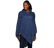 As Is Denim & Co. Cable Knit Shawl Collar Poncho - A281376