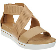 As Is H by Halston Leather Sandals with Perforated Straps - Peyton - A284476
