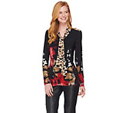Susan Graver Printed Liquid Knit Shirt with Tie - A284776