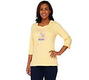 As Is Quacker Factory Floral Embroidered 3/4 Sleeve T-shirt - A284976