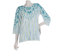As Is Bob Mackies 3/4 Sleeve Carnival Print Sweater with Side Slits - A285876