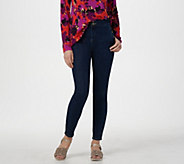 LOGO by Lori Goldstein Button Fly Skinny Jeans w/ Snap Details - A286976