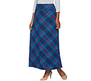 As Is Denim & Co. Plaid Printed Pull-on Maxi Skirt - A290576