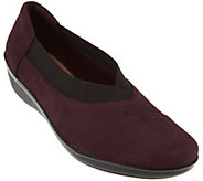 As Is Clarks Nubuck Leather Slip-on Shoes - Everlay Eve - A290876