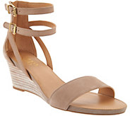 Franco Sarto Leather Ankle Strap Wedge Sandals - Danissa - A290976