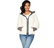 Peace Love World Down Puffer Jacket w/ French Terry Hoodie - A296576
