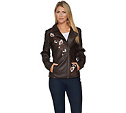 Studio by Denim & Co. Faux Leather Jacket with Embroidery - A296776