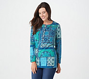 Denim & Co. Perfect Jersey Button Henley Patchwork Print Tunic - A297776