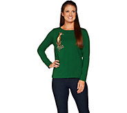 Bob Mackies Long Sleeve Knit Top with Leopard Embroidery - A298676