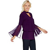 Laurie Felt Knit Top with Woven Bell Sleeves - A301676