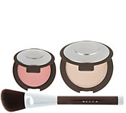 BECCA Shimmering Skin Pressed Highlighter   Blush w/ Brush - A302676