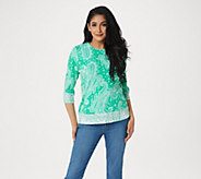 Denim & Co. Paisley Print 3/4 Sleeve Top with Contrast Trim Detail - A305176