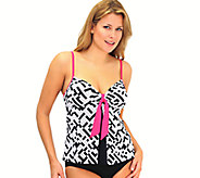 Fit 4 U Tummy Pleated Tie Front Swim Top - A333376