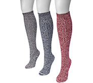 MUK LUKS Womens 3 Pair Pack Cable Knee High Socks - A361476