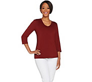Susan Graver Essentials Butterknit 3/4 Sleeve V-neck Top - A214177