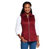 Liz Claiborne New York Faux Suede Zip Front Vest w/ Pockets - A235277