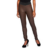 Lisa Rinna Collection Faux Leather and Ponte Knit Leggings - A235577