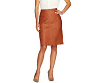 George Simonton Faux Leather Skirt with Pleat Detail & Back Elastic - A236277