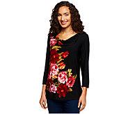 Susan Graver Liquid Knit Placement Print Drape Neck 3/4 Sleeve Top - A239377