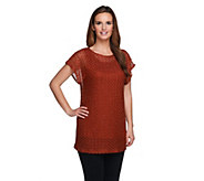 Susan Graver Metallic Lace Knit Extended Sleeve Tunic with Solid Tank - A255977