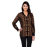 Bob Mackies Zip Front Animal Print Knit Cardigan - A260177