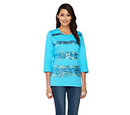 Quacker Factory Sequin Wave 3/4 Sleeve T-shirt - A260377
