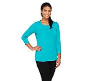 Susan Graver Essential Butterknit 3/4 Sleeve Top - A261277