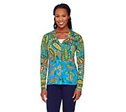 Isaac Mizrahi Live! Engineered Paisley Printed Cardigan - A262077