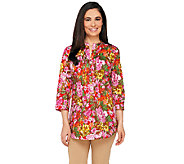 Liz Claiborne New York Floral Print Button Front Tunic - A262177