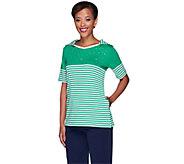 Quacker Factory Stars & Stripes Elbow Sleeve Hooded T-Shirt - A263577
