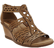 Earth Leather Wedge Sandals w/ Perforated Details - Petal - A264677