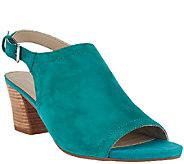 Franco Sarto Nubuck Block Heel Peep-toe Sandles - Monaco - A265577