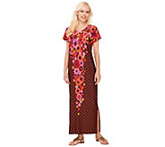 Bob Mackies Short Sleeve Floral Printed Knit Caftan Dress - A266377