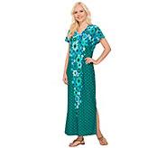 Bob Mackies Short Sleeve Floral Printed Knit Caftan Dress - A266377