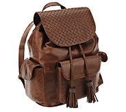 Tignanello Distressed Leather Embossed Weave Backpack - A266977