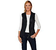 Denim & Co. Faux Leather Motorcycle Zip Front Vest - A267977