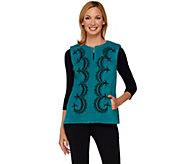 Bob Mackies Embroiderd Zip Front Fleece Vest with Pockets - A268377