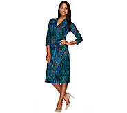 Liz Claiborne New York Printed Midi Length Wrap Dress - A268677
