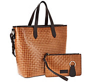 Dooney & Bourke Woven Embossed Leather Shopper w/ Accessories - A270477