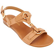As Is Franco Sarto Leather T-strap Sandals with Buckles - Gili - A272177