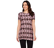 LOGO by Lori Goldstein Printed Knit Top with Side Pockets - A274077