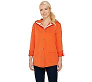 As Is Susan Graver Weekend French Terry Roll Tab Sleeve Jacket - A274177