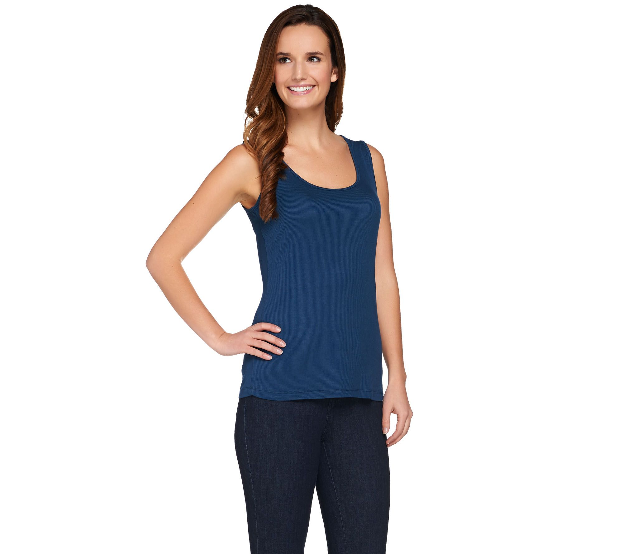 Lisa Rinna Collection Scoop Neck Ribbed Knit Tank Top