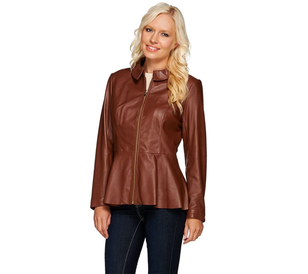 Quot As Is Quot Isaac Mizrahi Live Peplum Leather Jacket Qvc Com