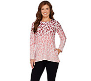 As Is LOGO Lounge by Lori Goldstein French Terry Ombre Print Top - A280177